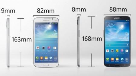 Samsung Galaxy Mega 5.8 és Galaxy Mega 6.3 méreteinek összehasonlítása